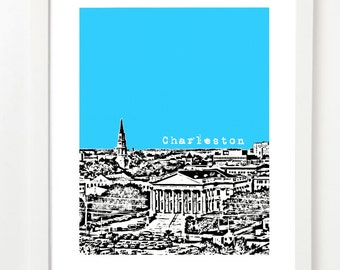 Charleston Skyline Art Print - Charleston South Carolina Wedding Gift - Charleston City Skyline Poster - South Carolina