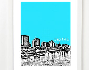 Dayton Poster - Dayton Ohio State Art Print - Dayton City Skyline Series -