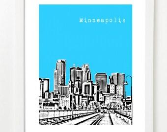Minneapolis Minnesota Skyline Poster -  City Skyline Art Print - Digital Art Print - VERSION 1