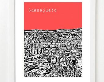 Guanajuato Art Poster - Mexico Travel Art - Guanajuato City Skyline -