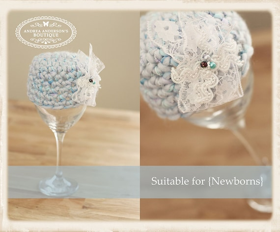 SALE - Newborn UNISEX crochet beanie hat with a detachable embellishment of lace & pearlised beads. Photography prop.