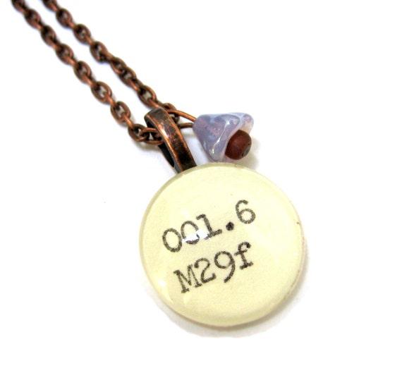 Extra Long Copper Dewey Decimal Necklace with Lilac Purple Czech Glass Flower