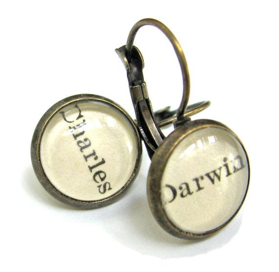 Charles Darwin Origin of Species Science Recycled Library Card Word Earrings Patina Brass