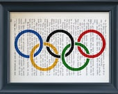 Olympic Rings, Vintage Book Page Print, Olympic Games, Literature Print, Wall Office Decoration, Buy 3 get 1 more for FREE 8.0x5.5in