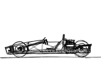 Classic F1 Racing Car from '60s - Print of my original sketch drawing - 8.3 x 5.8 in (A5)