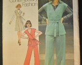 Misses' Front-Wrap Jumper or Top and Pants Size 16 Bust 38 Uncut Vintage 1970s Sewing Pattern Simplicity 7337