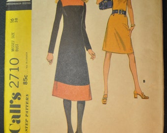 Dress in Two Versions Misses Size 16 Bust 38 Uncut Vintage 1970s Sewing Pattern - McCall's 2710