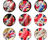 Union Jack Abbey Road 1 inch circle Bottle Cap Image Digital Collage Sheet (229)
