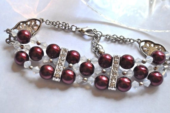 Swarovski Pearl Bracelet - Swarovski Merlot Pearls - Swarovski Opal Crystals - Midnight Rendezvous - Triple strand