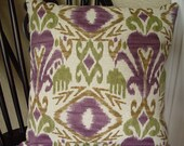 "16x16"" Purple and Green Ikat Throw Pillow Cover w/ Zipper Closure"