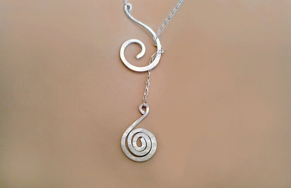 Spiral necklace, Lariat Necklace with Special meaning, Silver or Gold, Spiral jewelry, metalwork lariat necklace, meaningful necklace