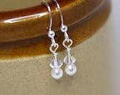 Swarovski Crystal and Pearl Earrings, White Bridal Earrings, Bridesmaids Earrings, STERLING SILVER, Simple, Dainty, Delicate