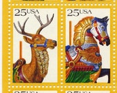 Carousel Horses and Animals Retro Postage Stamps, Sheet of 50
