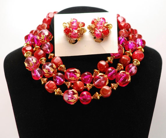 Cherry Pink Necklace and Earrings - Deauville