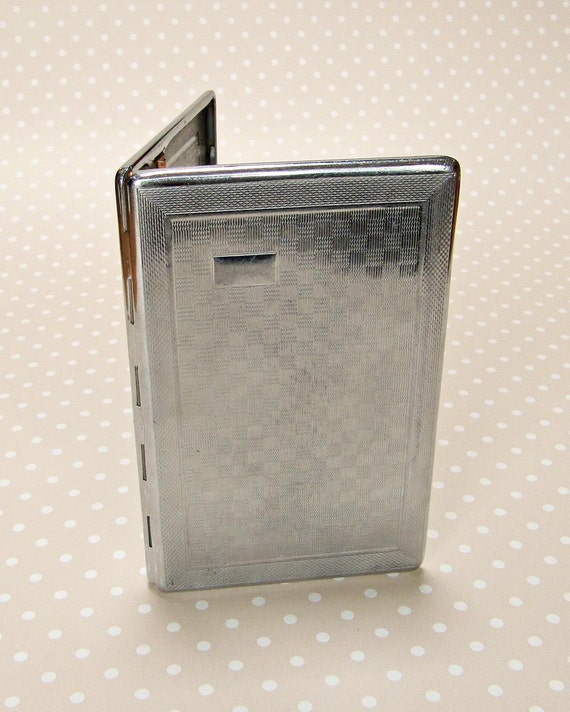 Vintage Art Deco Machine Etched Silver Color Cigarette Card Case - Made in England