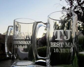 2 Beer Mug, 28 OZ. Etched Beer Mug, Customized