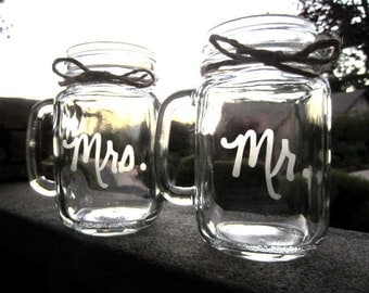 Mason Jar Wedding, Mr. Mrs. Mugs, Mason Jar Mugs,