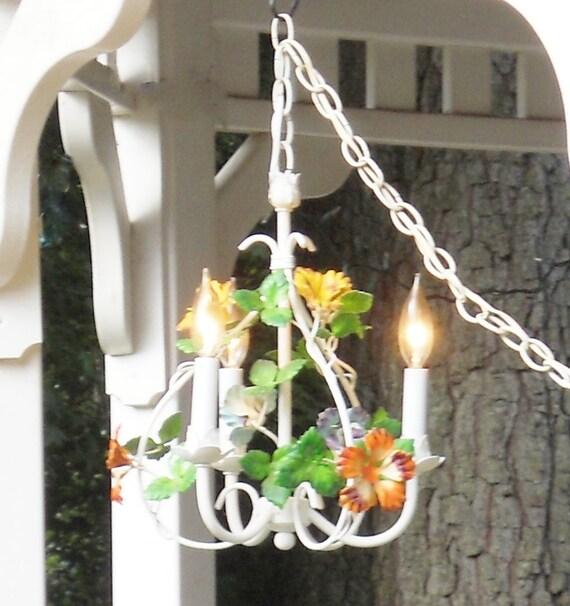 Italian Petite Handpainted flower Chandelier 3 light - Shabby Chic, Vintage, Lighting, Metal, Hanging, Wedding, Capodimonte