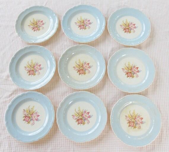 French Saxon China Pale Egg Shell Blue Floral Dessert Plates - Set of 9 - Vintage, French Decor, Wedding, Farmhouse Decor, Gift, Shabby Chic
