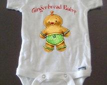 Christmas Onesie featuring Original Art: Gingerbread Baby