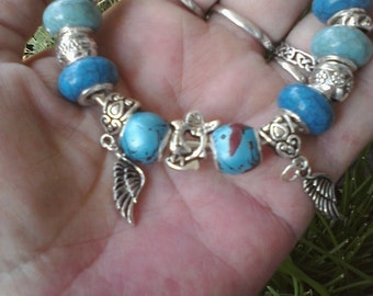 Robins Egg in blue and charms, Euro style bracelet