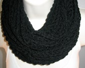Free US Shipping: Black Infinity Crocheted Rope Chain Necklace/Scarf