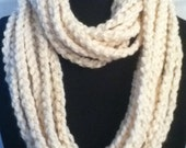 Crocheted Cream Infinity Scarf with Subtle Streaks of GoldMetallic