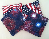 Four Patriotic Drink Mats (Coasters) w/Fireworks