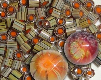Flambe'.....Handmade Murrini Chips...Millefiori Slices......COE 104 Autumn orange flame lampwork bead Beatlebaby Supply