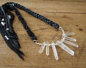 Native Navajo Necklace - Black Leather with Quartz Crystals