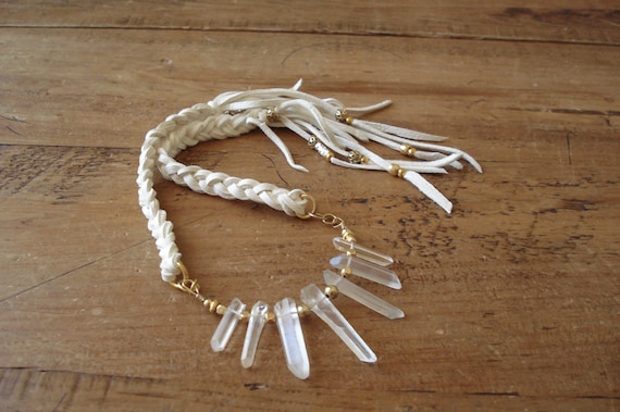 Native Navajo White Necklace - Deerskin Leather with Quartz Crystals