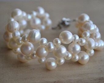 ivory pearl bracelet -7.5 inches freshwater pearl bracelet, wedding bracelet,bridesmaid bracelet, girl bracelet,wide bracelet