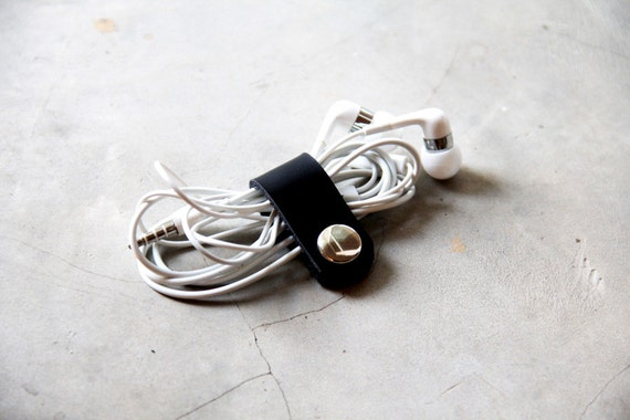 Leather Cable Band Black - Hand Crafted Leather Custom