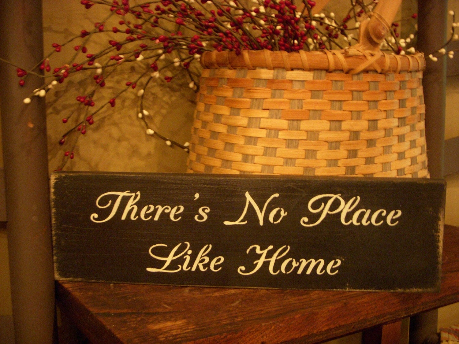 There's No Place Like Home Wooden Stenciled Sign