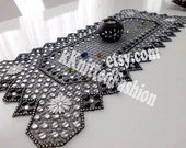 Consol cover -Tablecloth -runner  black -white bead tablecloth