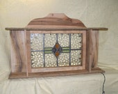 Old World Stain Glass Window Shelf with Lights
