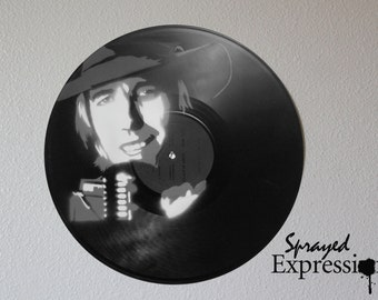 Tom Petty Vinyl Record Spray Painting