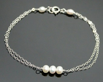 Freshwater PEARL Bracelet - STERLING SILVER, Past Present and Future, Bridesmaids Pearl Bracelet.