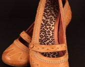 Tan Leather Wedge Shoes Size 7