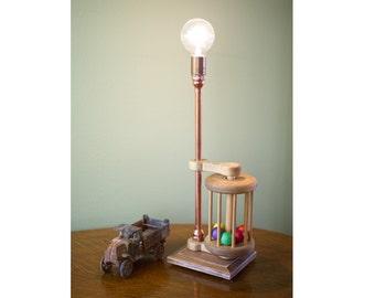 Vintage Wooden Toy Pop Pop Lamp