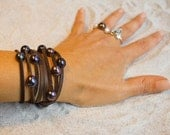 Leather and pearl bracelet - wrap leather bracelet - pearl on leather cord bracelet - wrap bracelet necklace