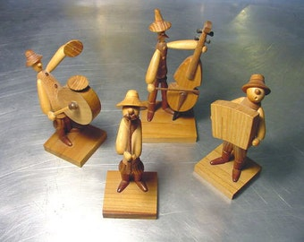 HIRE the Wedding Band Vintage Hand CARVED Musicians Band Accordion Bass Drum clarinet or whistle wood POLAND