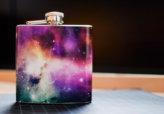 Mini 6oz Cosmos Galaxy Space Sagan Nebula Stainless Steel Hip Flask
