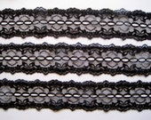 """Beading Lace Trim, Black, 1 3/4"""" inch wide, 1 Yard, For Scrapbook, Home Decor, Apparel, Accessories, Mixed Media"""