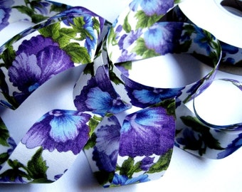 """REMNANT - Pansy Flowers Cotton Ribbon Trim, Multicolor, 7/8"""" inch wide, For Home Decor, Accessories, Scrapbook, Victorian & Romantic Crafts"""