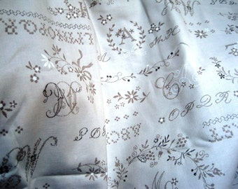 """Whitewash Embroidery Sampler Fabric, Fat Quarter, Taupe / Taupe, 18"""" X 22"""" inches, 100% Cotton, For Victorian & Romantic Projects"""