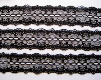 "Beading Lace Trim, Black, 1 3/4"" inch wide, 1 Yard, For Scrapbook, Home Decor, Apparel, Accessories, Mixed Media"