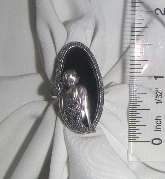 Onyx and Marcasite Flapper Ring