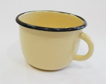 Vintage Soviet enamelware mug, cup  yellow  and black from USSR
