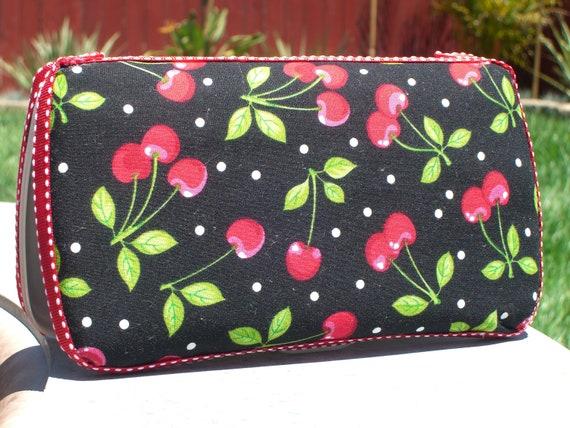 Red Cherries travel wipe case/wipe case/wet wipe case